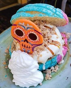 Disneyland's Day of the Dead Ice Cream Sandwich Is Made With Multicolored Pan Dulce! — POPSUGAR - Disneyland's Day of the Dead Ice Cream Sandwich Is Made With Multicolored Pan Dulce! Disney's Halloween Treat, Halloween Food For Party, Disney Halloween, Protein Ice Cream, Yogurt Ice Cream, Disney Themed Food, Disney Food, Disneyland Food, Disneyland Vacation