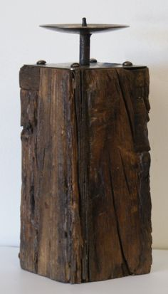 Large Reclaimed Wooden Candle Block- With Forged Metal Candle Plate £24.95