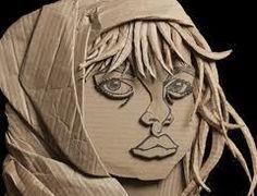 Relief portrait in cardboard