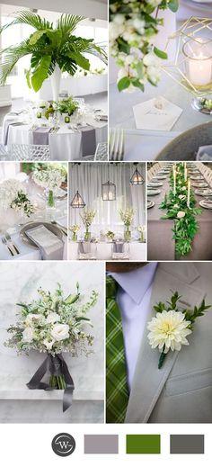 greenery and grey wedding color inspiration
