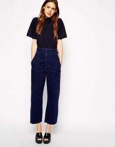 Image 1 ofASOS High Waist Wide Leg jeans in Indigo