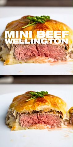 Individual Beef Wellington - Easy mini wellington meat parcels are an elegant holiday dinner main course meal. filet steak is wrapped into flakey golden baked puff pastry. Make these for your family and friends this Christmas or for New Year's. Individual Beef Wellington, Mini Beef Wellington, Wellington Food, Recipe For Beef Wellington, Corned Beef Recipes, Easy Meat Recipes, Ground Beef Recipes, Easy Dinner Recipes, Cooking Recipes