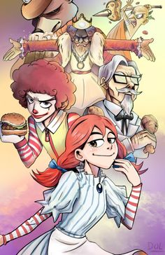 Sorry for didn't post anything for so long. I'm now working on making printed artwork for AnimeNorth Canada lol Andddd this is one of those print!!! Fastfood Mascot Tournament in anime style!!!! :D I really like this work especially Wendy's chan lool