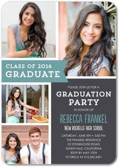 Collage Style Graduation Announcement Invitation Print Your Own