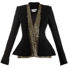 Altuzarra Foxtail gold embroidered jacket (3,490 CAD) ❤ liked on Polyvore featuring outerwear, jackets, blazers, coats, tops, tailored jacket, long sleeve blazer, gold blazer, black slim fit blazer and embroidered blazer