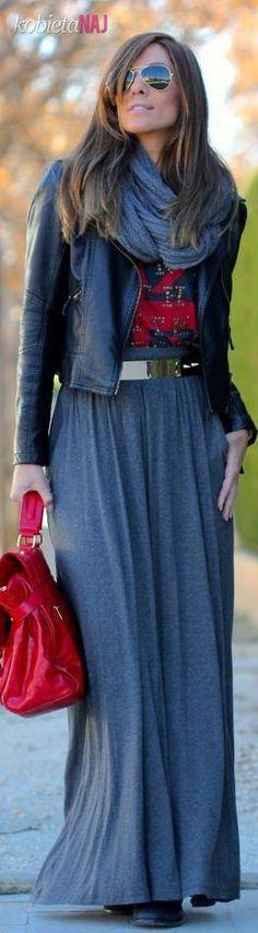 Jesienna stylizacja na dziś - Ramoneska i długa spódnica - CUDO!!!