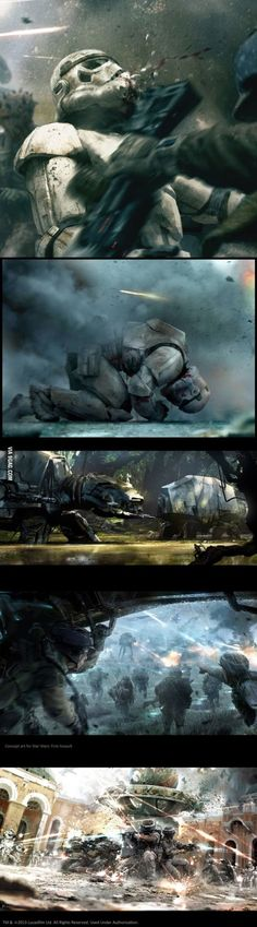 Some Star Wars Art. Concept from cancelled video game Star Wars First Assault. Star Wars Film, Nave Star Wars, Star Wars Art, Star Trek, Starwars, Lego Krieg, Stormtroopers, Animation 3d, Images Star Wars