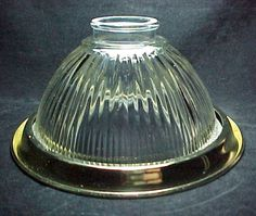 """Clear Glass Ribbed Bell Light Shade with Brass plated Trim Ring. Compatible with Wall Sconce, Ceiling Fan or Chandelier Fixture. 2 1/4"""" Fitter"""