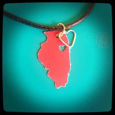 Illinois necklace customized with heart of your choosing going away present long distance relationship state pride by MollysHandmadeGifts on Etsy https://www.etsy.com/listing/240450179/illinois-necklace-customized-with-heart