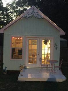 A night view of Teani Parker's She Shed