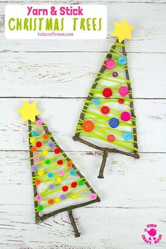 Stick Christmas Tree Craft. Have fun decorating it with buttons, pom poms, sequins or beads. Such a lovely nature craft and Christmas craft for kids! #kidscraftroom #kidscrafts #christmascrafts #naturecrafts #stickcrafts #twigcrafts #christmasornaments #kidmadechristmas #christmasdecorations #christmastree