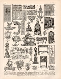 Etsy の 1897 French Furniture Antique Print Vintage by Craftissimo