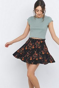 Urban Outfitters Black Rose Skater Skirt - Urban Outfitters