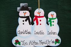 Snowman Family of 3 personalized ornament country wood crafts decor~cute wooden handicrafts by MsSapangbato8908, via Flickr