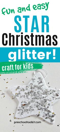 Add glitter to a foam star shape to make a sparkling Christmas tree ornament. Use biodegrable glitter or make your own paper confetti to decorate the stars. This easy craft is fun for toddlers and preschoolers and supports fine motor skills. #craftsforkids #handsonlearning