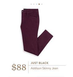 Stitch Fix: Just Black Addison Skinny Jean - this deep burgundy color just screams fall.
