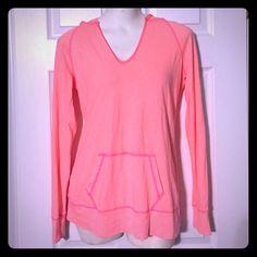 Light sweatshirt Pretty orange/pinkish colored top( light sweatshirt) Worn once Maurices Tops Sweatshirts & Hoodies