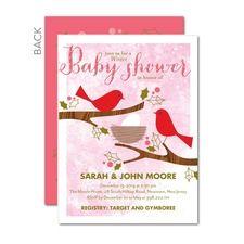 Snug Nest: Medium Pink Girl Baby Shower Invitations