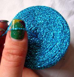 Glitter Yarn Metal yarn Shine sparkle yarn blue / by HandyFamily