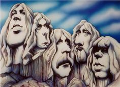"Deep Purple, MarkII, the pioneers of hard rock, in the monumental shape of their album cover ""Deep Purple In Rock"" Airbrush & water colours, 1999"