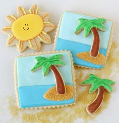 3-D Beach Cookies using Palm Tree, Square, and Flower Cookie Cutters