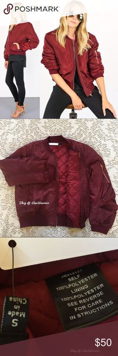 🆕NWT satin burgundy bomber jacket w/quilted liner This must have Fall bomber jacket in deep merlot/burgundy satin bomber jacket has gold hardware detail and soft quilted poly lining. Brand new retail item just arrived! Since this is a new retail/boutique item, price is firm unless bundled! I only have one small! If this is your first time shopping my closet, please read my about me and my closet listing prior to any inquiries. Boutique Jackets & Coats