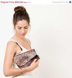 Clutch Purse with Detachable Chain, Eco bag, small crossbody bag, Printed bag in black and pink graffiti / On SALE 56$