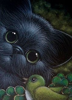 St. Patrick's day cats | details title st patrick s day black persian cat bird size aceo 2 5 x ...