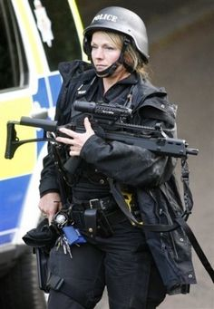 armed British police officer in Rothbury England
