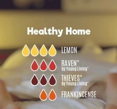 Healthy home essential oil mix recipe with Young Living oils - Lemon, Raven, Thieves, and Frankincense Thieves Essential Oil, Essential Oils Guide, Frankincense Essential Oil, Raven Essential Oil, Young Living Oils, Young Living Essential Oils, Young Living Raven, Essential Oil Combinations, Oil Mix