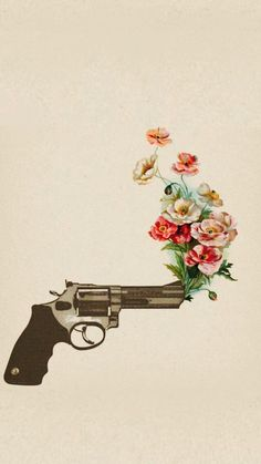 Imagem de flowers, gun, and rose