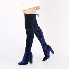 Annie Velvet Over The Knee Boots in Navy. Step up your thigh high ...