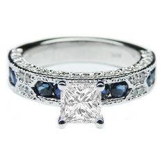 Engagement Ring - Princess Cut Diamond Vintage Engagement Ring Blue-Sapphire Accents