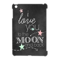 3D [Generic Love Quote] CHALKBOARD Art Print i LOVe YoU to the MoON Case for IPad Mini, IPad Mini Case Hipster Protective Protector for Girls {White} Jumphigh