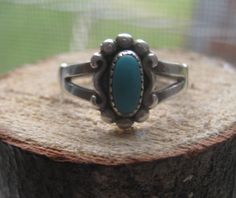 Southwestern Vintage Sterling Silver Ladies Turquoise Ring Size 6 1/2 with Halmark. $23.00, via Etsy. - In love with this.
