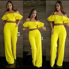 Amarillo riqueza Maxi Outfits, Chic Outfits, Rompers Women, Jumpsuits For Women, Fashion Pants, Fashion Outfits, Leather Jacket Dress, Queen Fashion, Next Fashion