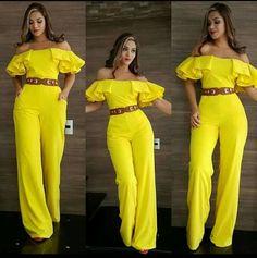 Amarillo riqueza Maxi Outfits, Chic Outfits, Fashion Pants, Fashion Outfits, Leather Jacket Dress, Queen Fashion, Next Fashion, Mellow Yellow, Trendy Dresses