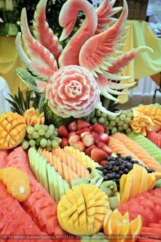 Our Catering halls-Wedding Halls are your ideal location for weddings, engagemen… – corporate party Fruit Buffet, Fruit Dishes, Fruit Decorations, Food Decoration, Fruit Platter Designs, Fruit Designs, Fruit Display Wedding, Edible Fruit Arrangements, Deco Fruit