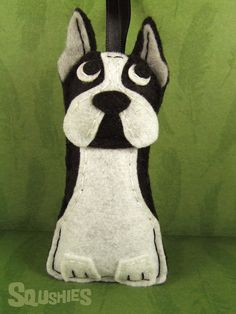 Felt Dog Boston Terrier, Christmas Ornament, Felt Tree Ornament, Felt Animal - Lucy the Boston Terrier
