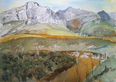 Helderberg Nature Reserve, path to Disa Gorge, watercolour, 2014