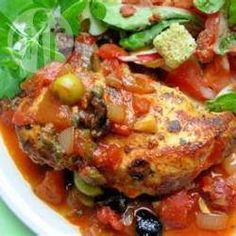 Spanish chicken and chorizo bake - easy dish which can be made in advance and then reheated. Eat with rice/pasta/salad, or add in chickpeas and olives to make it more hearty.