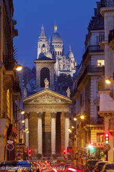 Twilight over Notre Dame de Lorette and Basilique du Sacre Coeur, Paris France༺ ♠ ༻*ŦƶȠ*༺ ♠ ༻
