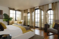 window treatment and color Arched Window Coverings, Arched Windows, Window Treatments, Spare Room, Contemporary Bedroom, Beautiful Space, My Dream Home, Great Rooms, Sweet Home