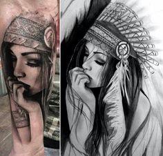 Realistic Black And Grey Indian Chief Female Tattoo Design For Forearm Hippe Tattoos, Tattoos 3d, Neue Tattoos, Tattoo Drawings, Body Art Tattoos, Sleeve Tattoos, Tatoos, Indian Chief Tattoo, Indian Women Tattoo