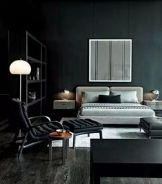 Contemporary Black Bachelor Pad room