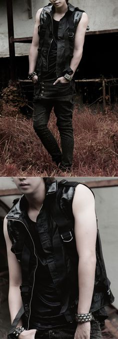 Outerwear :: Futuristic Avant-garde Designer Strap-Vest 23 - Mens Fashion Clothing For An Attractive Guy Look