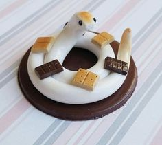 S'mores Themed Dessert Snake. Handmade, Polymer Clay Reptile Figurine, Crafted by The Clay Kiosk on Etsy.