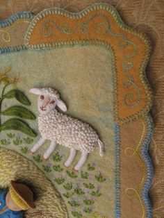 "Sally Mavor writes ""Sheep are so fun to make, with their curly fleece. Yes, these are all french knots, but they are spaced out a bit, compared to the dense knots in the lambs from my 'Mary Had a Little Lamb' book. Wool Embroidery, Embroidery Stitches, Inchies, Bordados E Cia, Coin Couture, Wool Quilts, Textiles, Art Textile, Lesage"