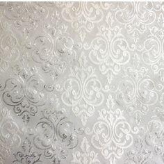 Bianco & argento tessuto damascato ricamato tenda di FabricMart