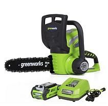 GreenWorks G-MAX 40V 12-Inch Cordless Chainsaw with 2AH Battery and Charger Inc.